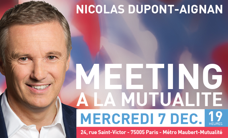 Le 7 décembre : grand meeting de NDA à la Mutualité !