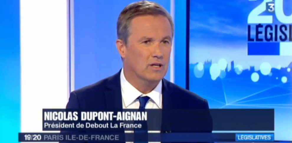 Nicolas Dupont-Aignan invité de France 3 Paris